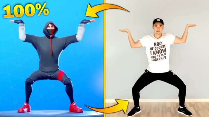 FORTNITE DANCES IN REAL LIFE BUT THEY ARE 100% IN SYNC! (Best Fortnite Dances in Real Life)